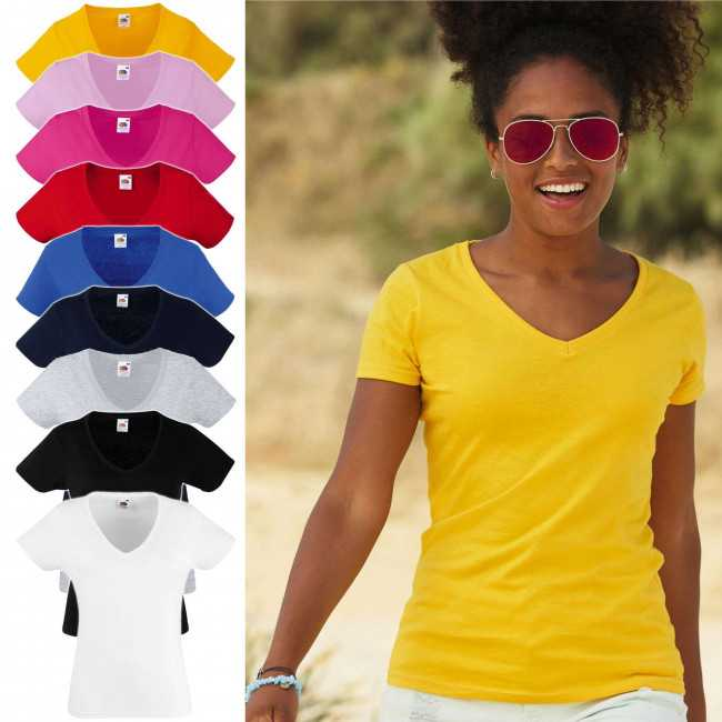 Fruit of the Loom Lady-Fit Valueweight V-neck T bedrucken